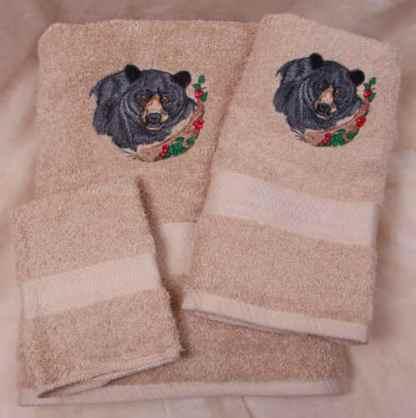 Black Bear Towel Set