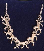 Platinum running horse pendant
