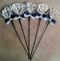 Silver & Blue Rosettes