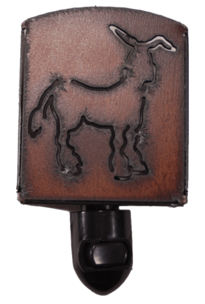 The Rustic Barn - Brown Rustic Metal Donkey Night Light