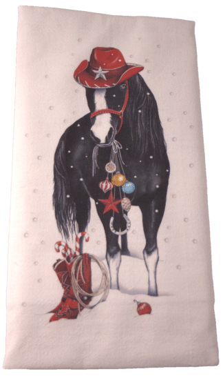 Black Horse Christmas Dish Towel