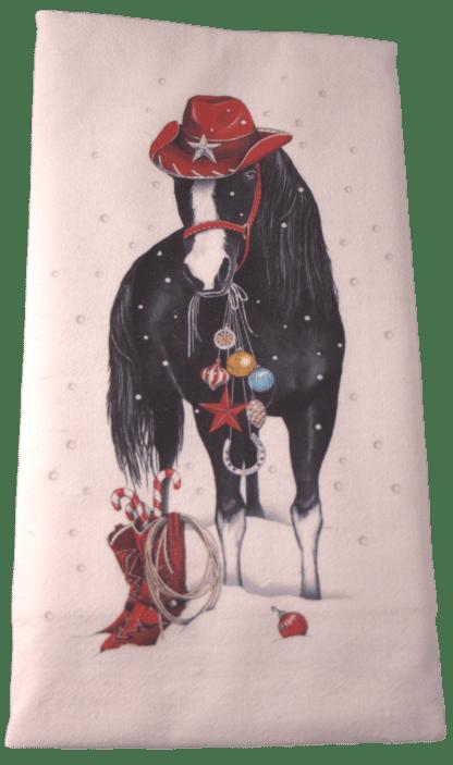 Black Horse Christmas Dish Towel