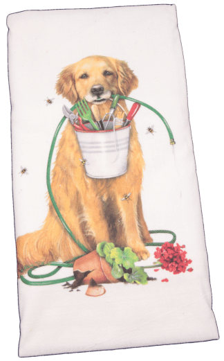 Mary Lake-Thompson Golden Retriever Garden Flour Sack Dish Towel. This printed flour sack dish towel is 100% white cotton. The actual size 30 X 30 inches.