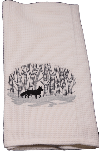 Embroidered White Waffle Weave Dish Towel - Fox in the Woods