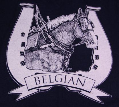 Belgian Draft Horse Head in Harness T-Shirt