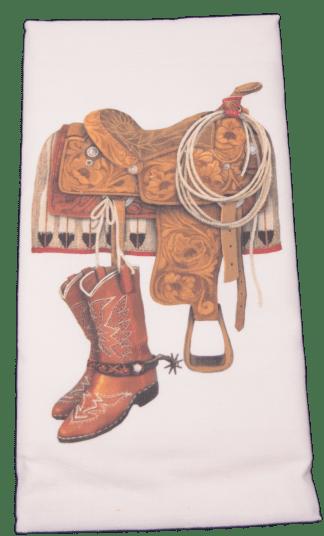 Mary Lake-Thompson Western Saddle and Boots Flour Sack Dish Towel