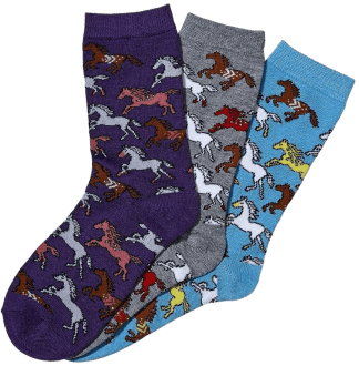 Awst Galloping Horse Ladies Crew Socks 3-Pack