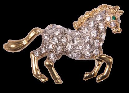 Pin Art Rhinestone Galloping Horse Pin