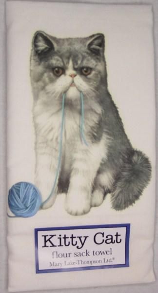 Persian Cat with Yarn Printed Flour Sack Dish Towel