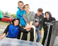 River 2 Lough Festival. pictured: Eoin Galpin from Chicago with his brother Callum, and from Glenavy Rory McCann, Evan and Tom Stagg JC16