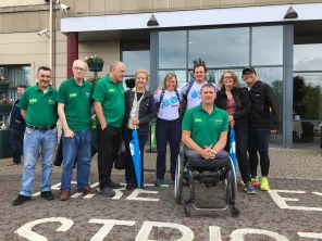 The walkers met staff from Big Lottery Fund and members from Armagh men's Shed beofore walking through Armagh to the shed.