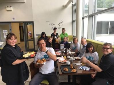 The walkers enjoy breakfast at Acceptable Enterprises, Larne