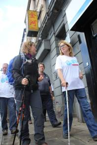 Members form Head Injury Support accompanied the walkers as they walked through Newry to their next destination