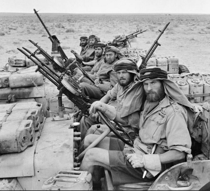 Special Air Service troops pictured in the North African desert during World War 2.   Photo credit: Capt Keating, No 1 Army Film & Photographic Unit.