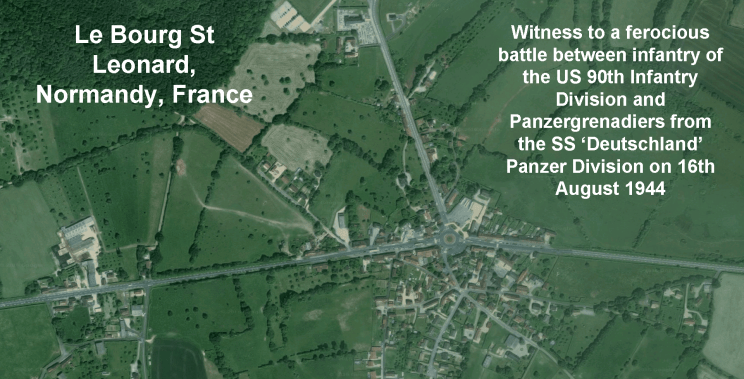 Le Bourg St Leonard, satellite view, with captions