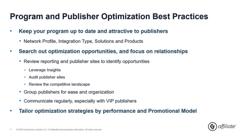 program and publisher optimziation best practice