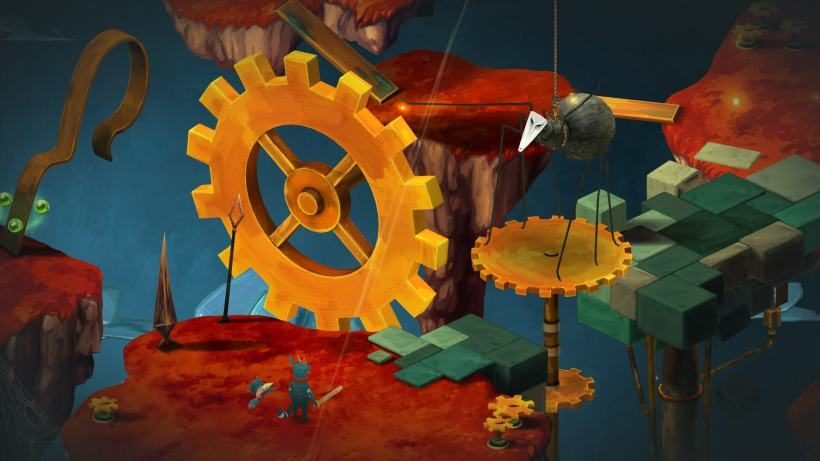 Figment level with giant clockwork cog