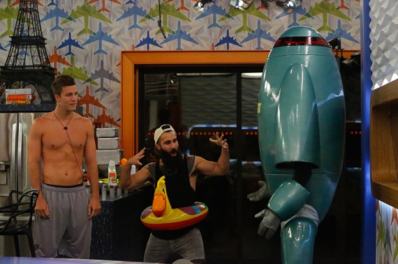 Corey Brooks and Paul Abrahamian talk to Zingbot when he returns to BIG BROTHER with a special surprise -- he is running for president! Tune in to the Power Of Veto competition on Wednesday, August 17 (8:00 -- 9:00 PM, ET/PT) for his special campaign rally. BIG BROTHER airs Sundays and Wednesdays (8:00-9:00 PM, ET/PT); and Thursdays (9:00-10:00 PM, live ET/delayed PT), featuring the live eviction show hosted by Julie Chen. Photo: Bill Inoshita/CBS ©2016 CBS Broadcasting, Inc. All Rights Reserved