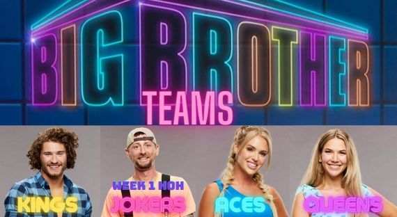 All Four BB23 captains with neon Big Brother logo above them
