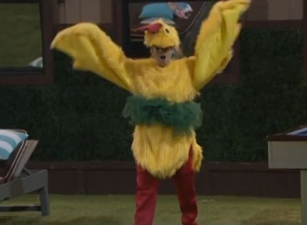 GinaMarie tries on the chicken suit 05