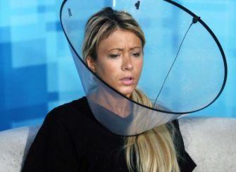 GinaMarie wears a cone 01