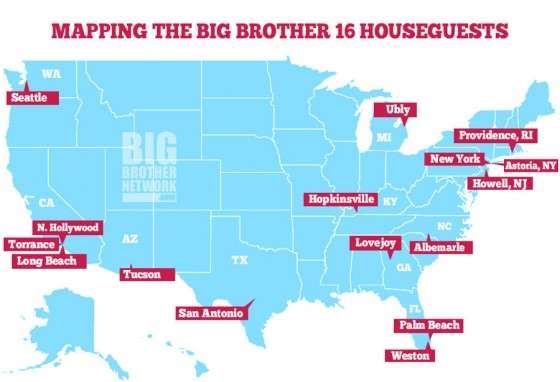Big Brother 16 cast map