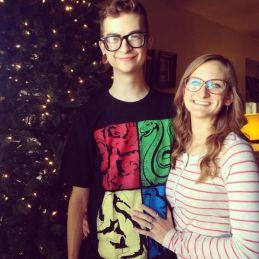 Christine Brecht & her husband on Christmas
