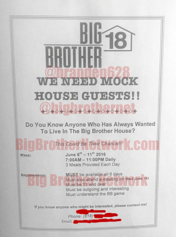 Big Brother 18 Mock Houseguests search flyer