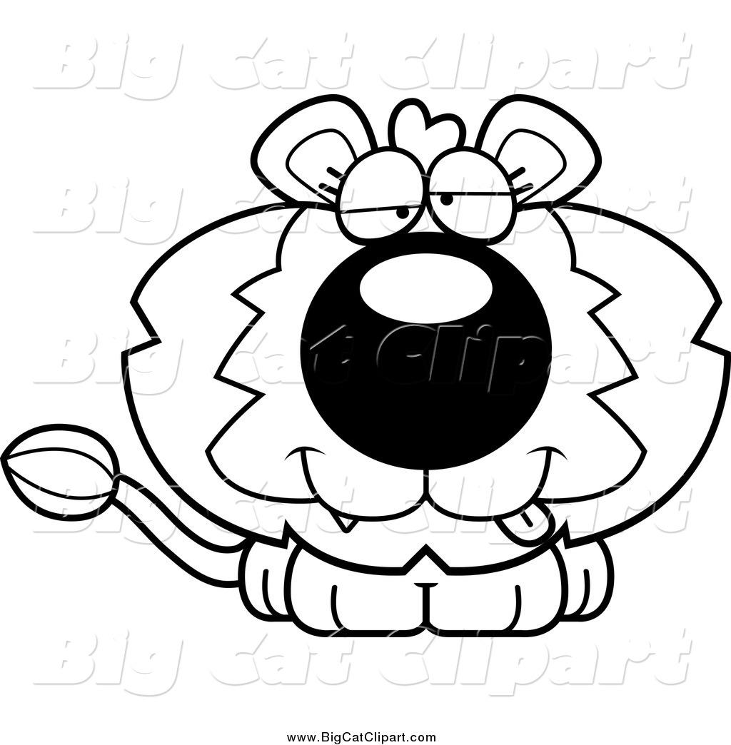 Big Cat Cartoon Vector Clipart Of A Black And White Dumb