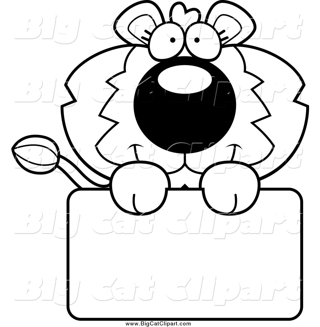 Big Cat Cartoon Vector Clipart Of A Black And White Lion