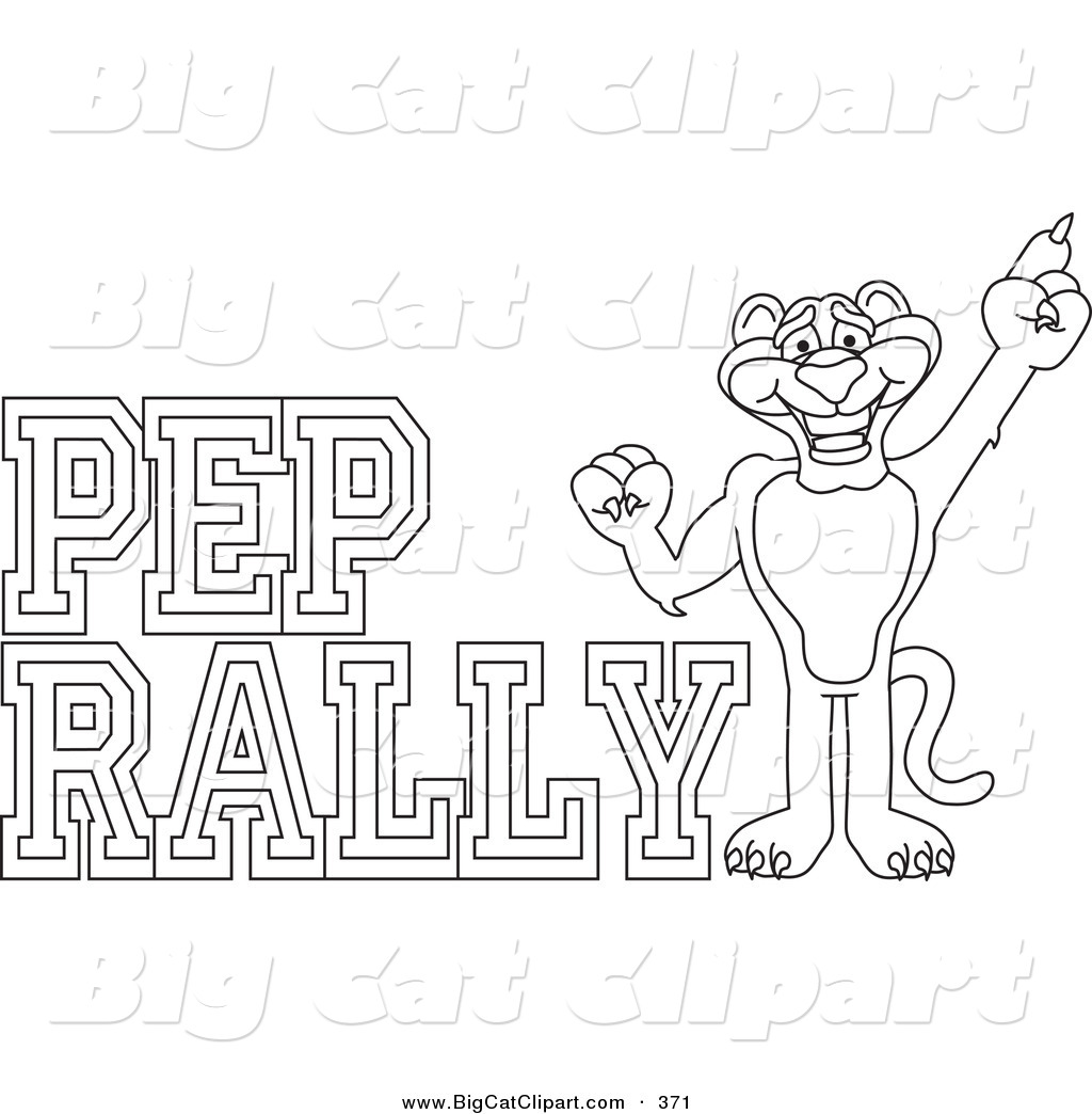 Big Cat Cartoon Vector Clipart Of A Coloring Page Outline Of A Panther Character Mascot With Pep
