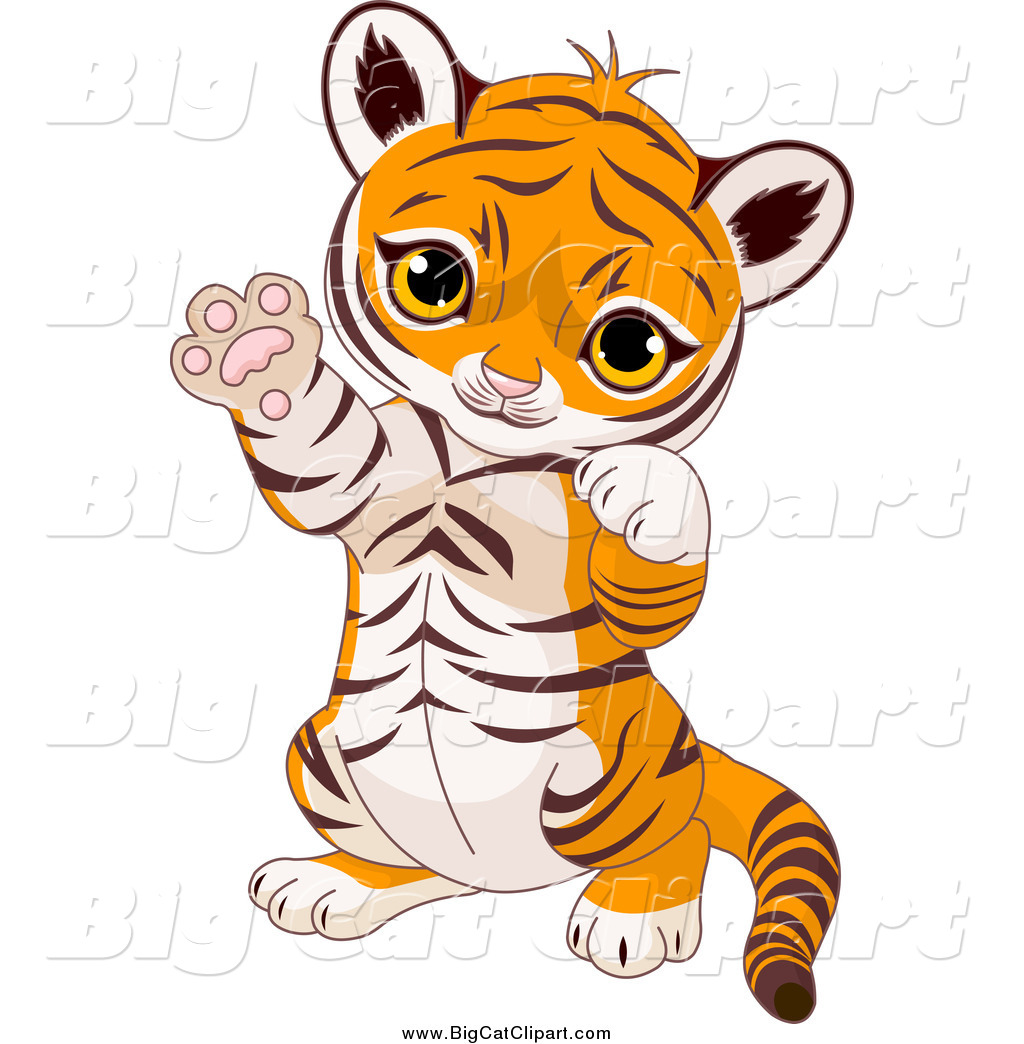 preview big cat cartoon vector clipart of a cute baby tiger cub