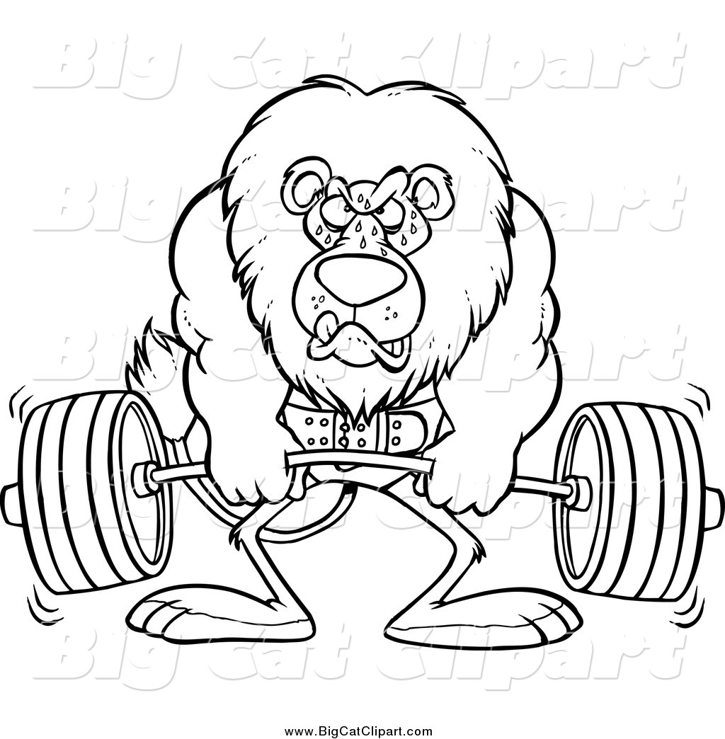 Big Cat Cartoon Vector Clipart Of A Lineart Bodybuilder