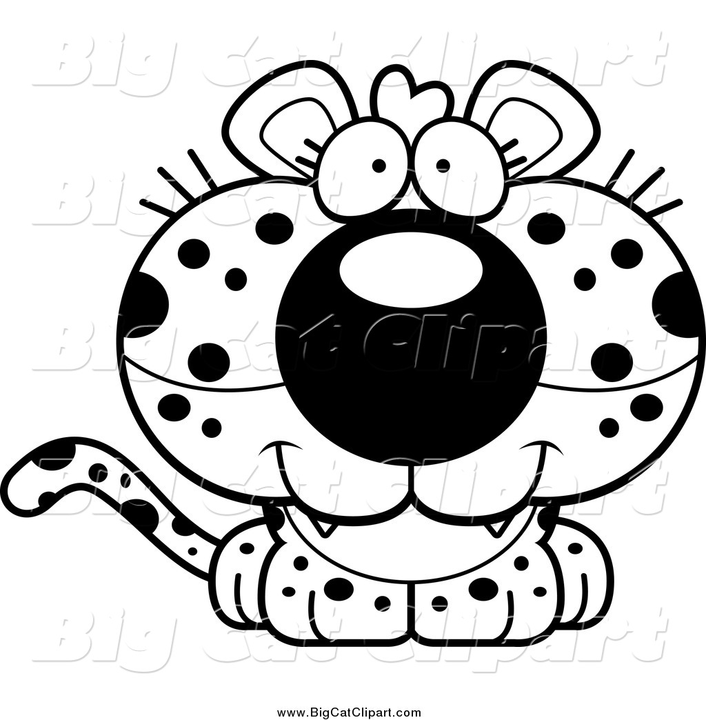 Big Cat Cartoon Vector Clipart Of A Lineart Cute Happy