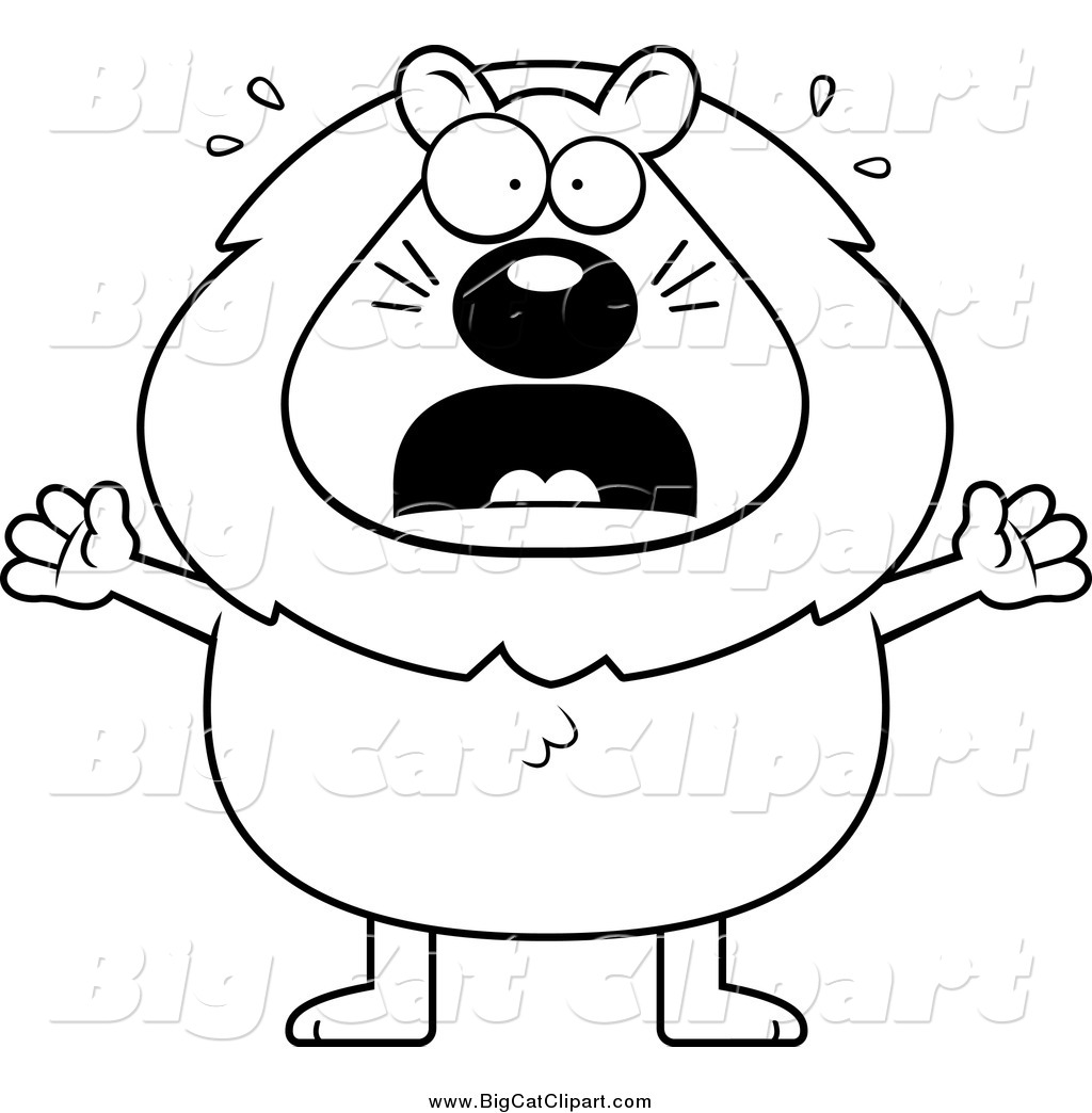 Big Cat Cartoon Vector Clipart Of A Lineart Scared Lion By