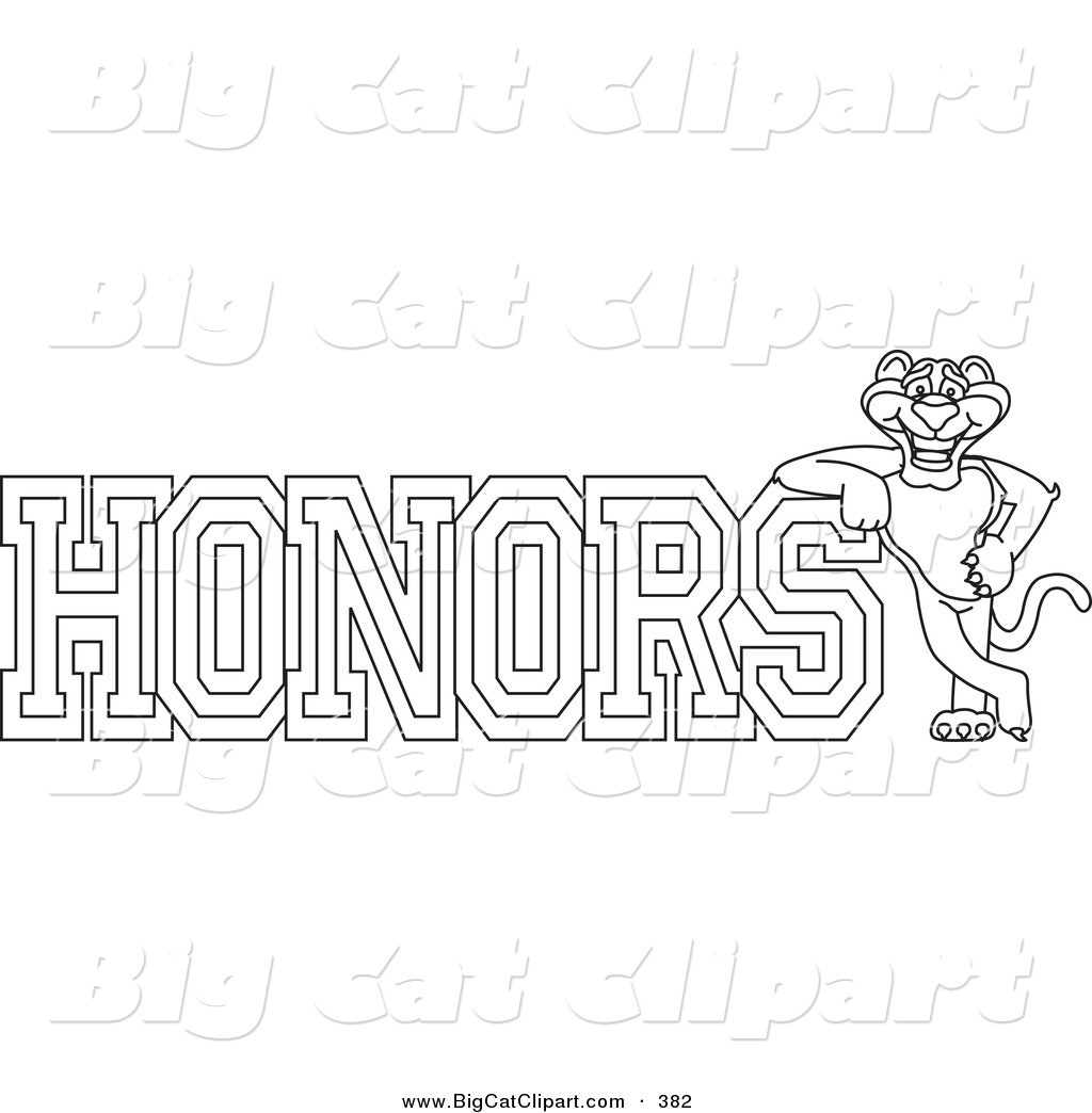 Big Cat Cartoon Vector Clipart Of An Outline Design Of A Panther Character Mascot With Honors