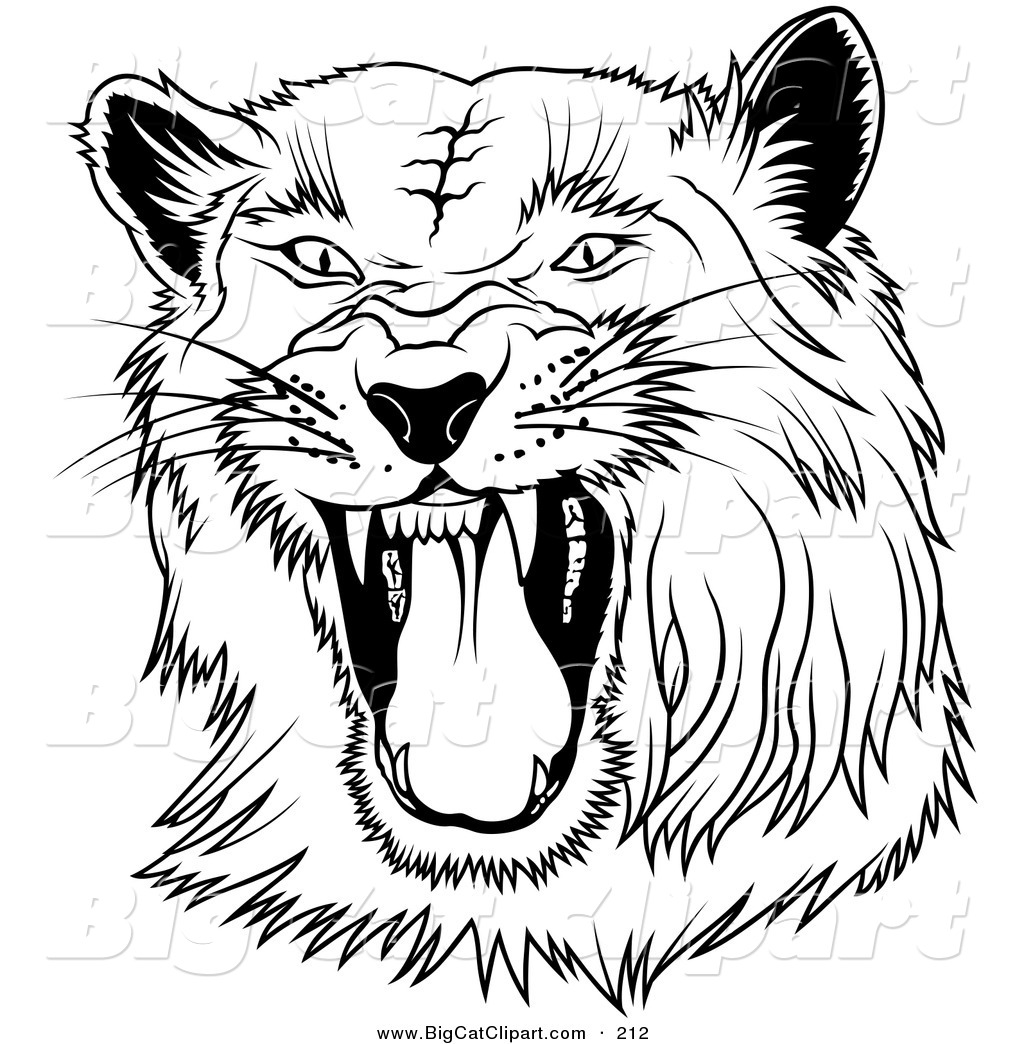 Big Cat Clipart Of A Black And White Hissing Panther On