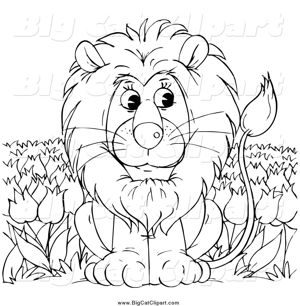Big Cat Clipart Of A Black And White Lion Sitting In A