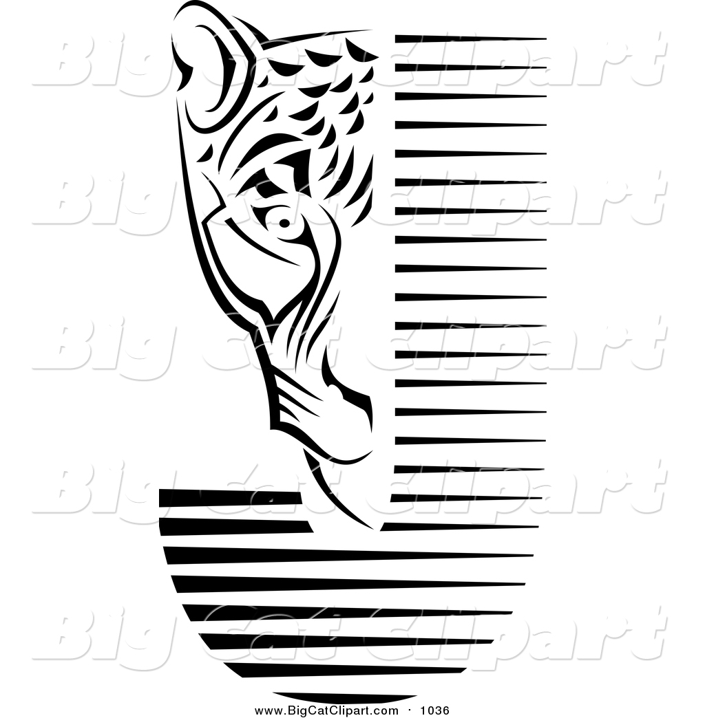 Big Cat Vector Clipart Of A Black And White Jaguar Face And Letter J By Vector Tradition Sm