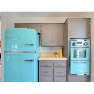 Cheery Ing Kitchen Interior Design Retro Red Refrigerator Glossy