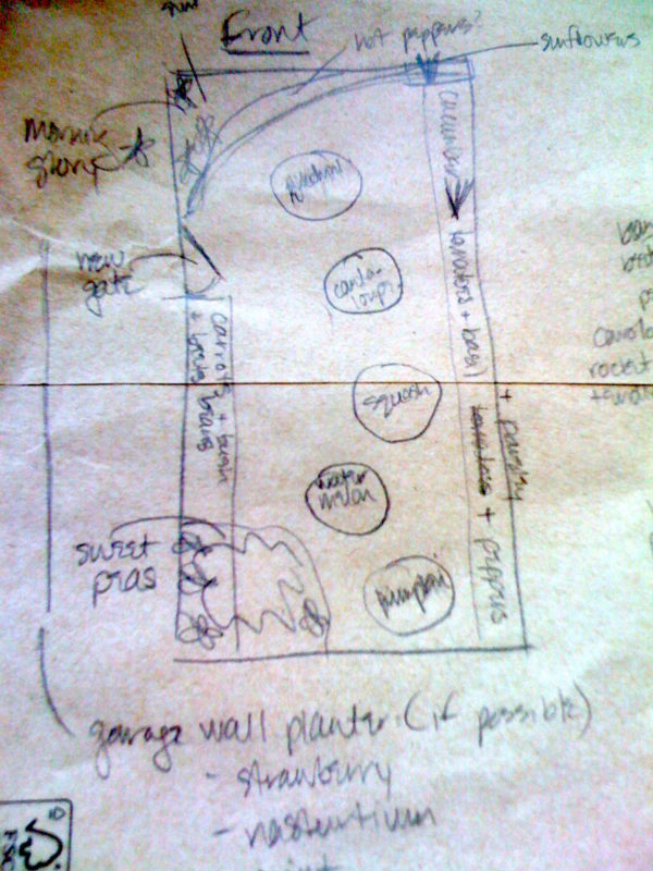 The front yard back-of-the-envelope garden plan