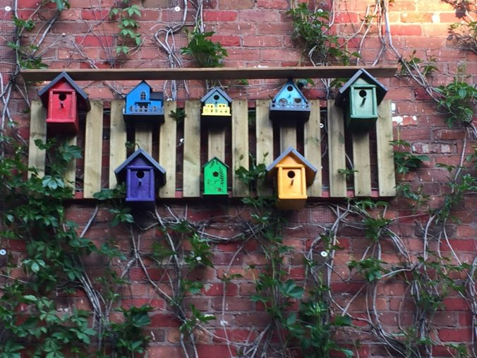 Bird houses - green wall