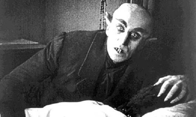 "From the first vampire movie, FW Murnau's 1922  production ""Nosferatu: eine Symphonie des Grauens"" starring Max Schreck as the vampire"