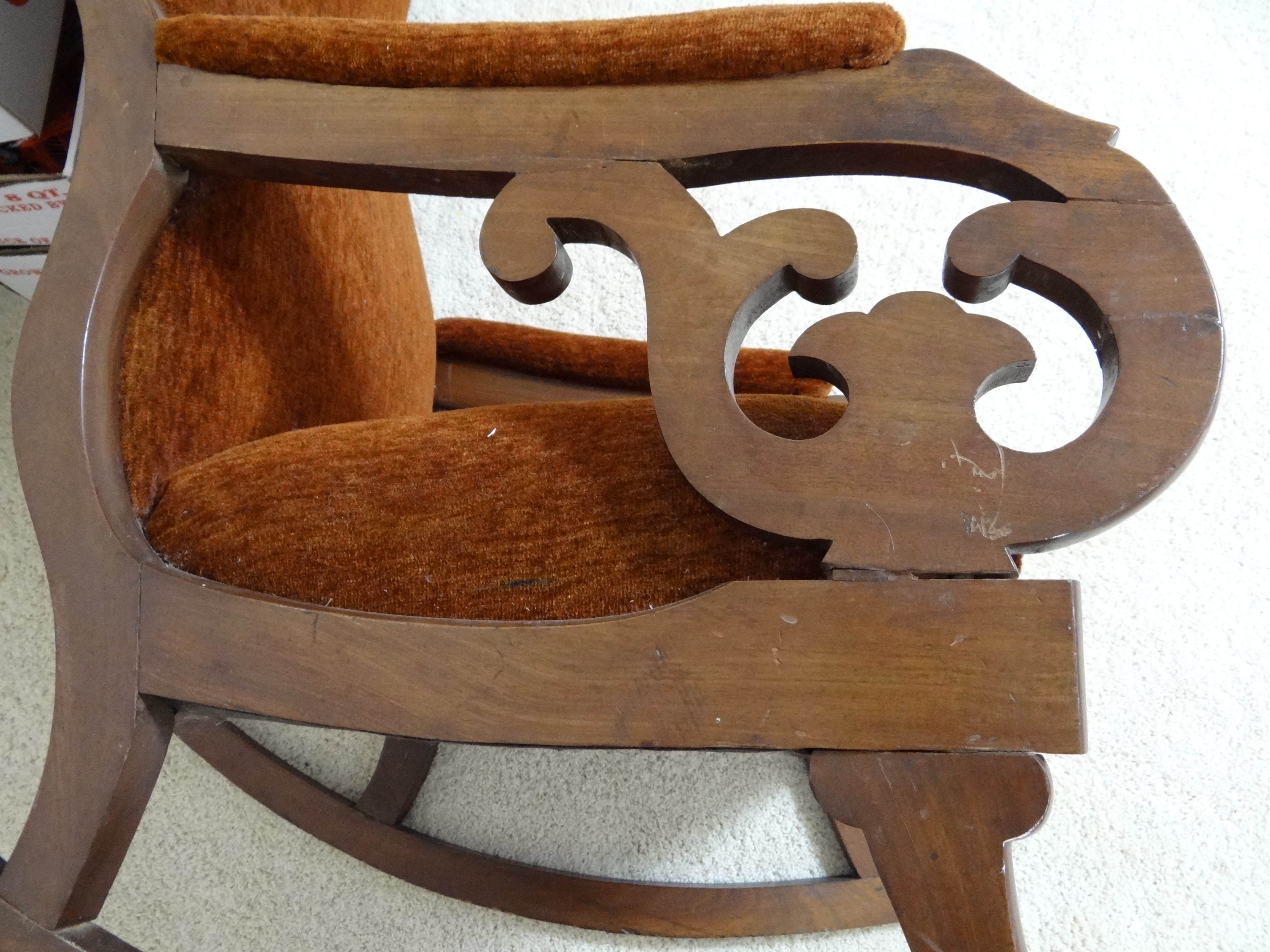 Antique upholstered rocking chairs - Antique Early Victorian Mahogany Upholstered Rocking Chair Lincoln Rocker Be