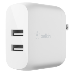 Belkin – Dual Port Usb A 24w Wall Charger With Usb A To Usb C Cable 3ft – White