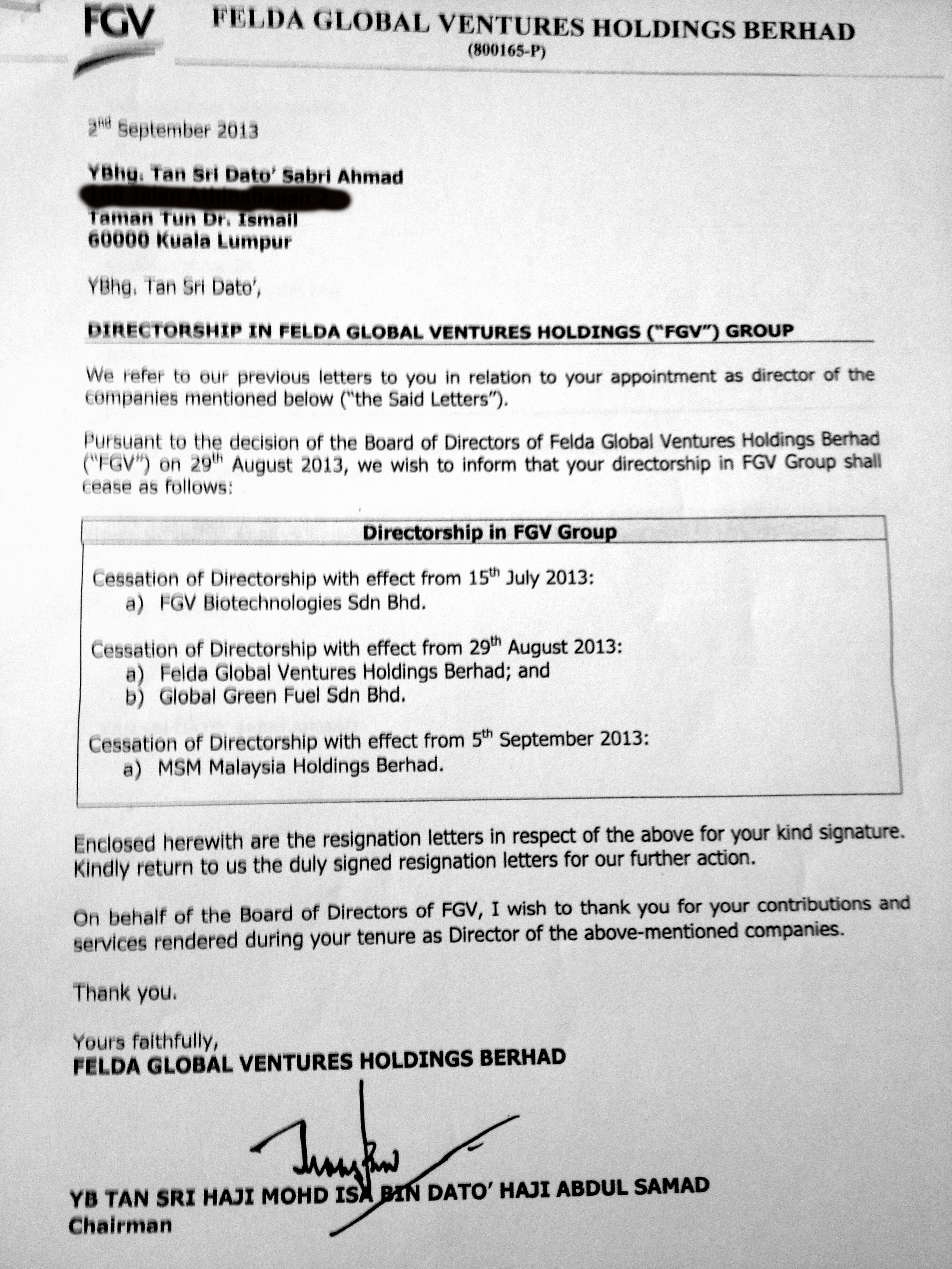 Contoh Resign Letter Bahasa Melayu