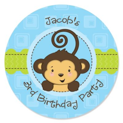Blue Monkey Boy Personalized Birthday Party Sticker