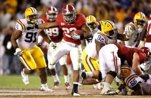 TUSCALOOSA, AL - NOVEMBER 07: Mark Ingram #22 of the Alabama Crimson Tide rushes upfield against the Louisiana State University Tigers at Bryant-Denny Stadium on November 7, 2009 in Tuscaloosa, Alabama. (Photo by Kevin C. Cox/Getty Images)
