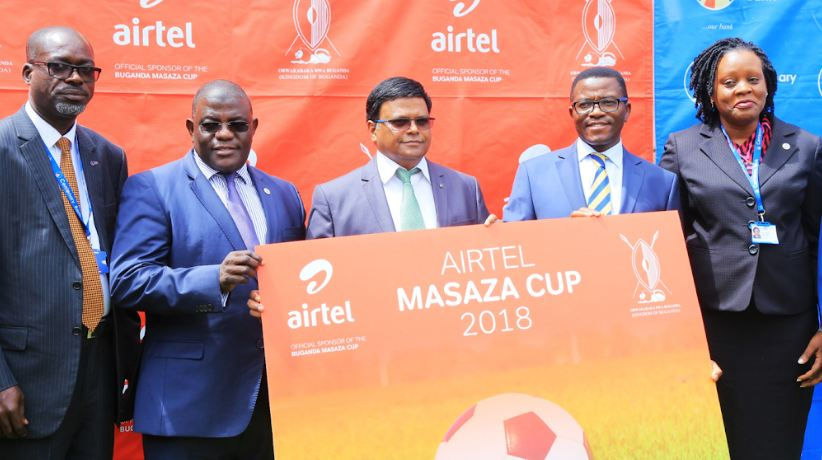 Airtel Uganda M.D joins the Katikkiro of Buganda Owek. Charles Peter Mayiga and other sponsors to launch the Airtel Masaza Cup.