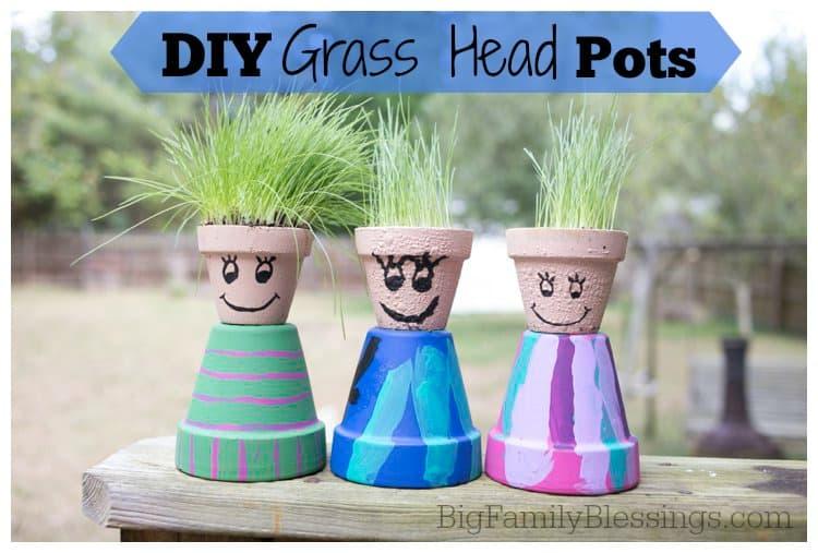DIY Grass Head Pots